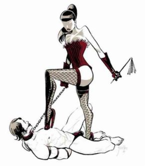 dominatrix trampling a male slave
