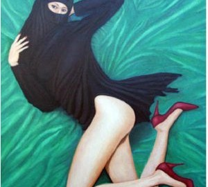 painting of a veiled woman in high heels