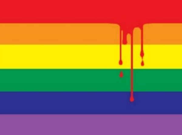 Bloodied gay flag