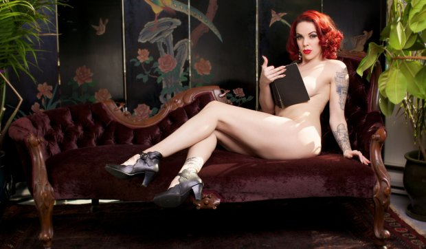 Sexy woman reading book