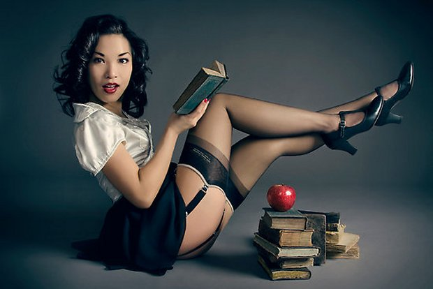 Book reading pin-up